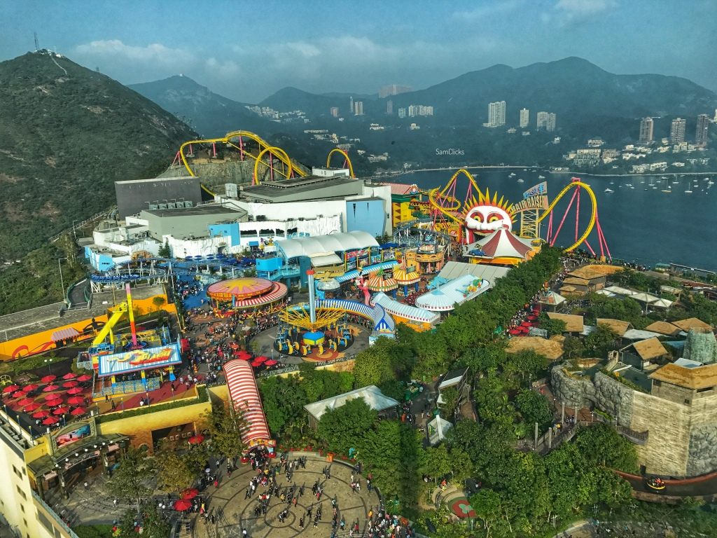 This is an aerial view of the Ocean Park, the best theme park in Hong Kong.