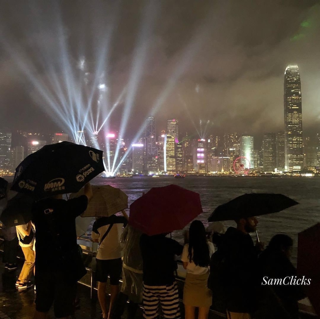 Victoria Harbour during the symphony of light: the mandatory 'establishing shot' for HKSAR.