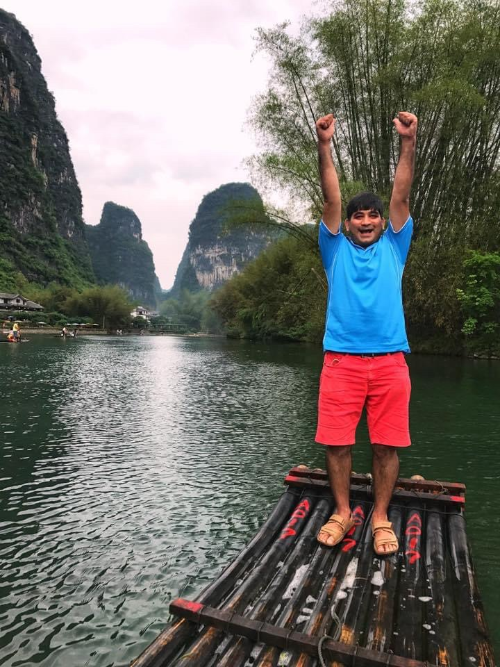 Bamboo rafting in Yulong River