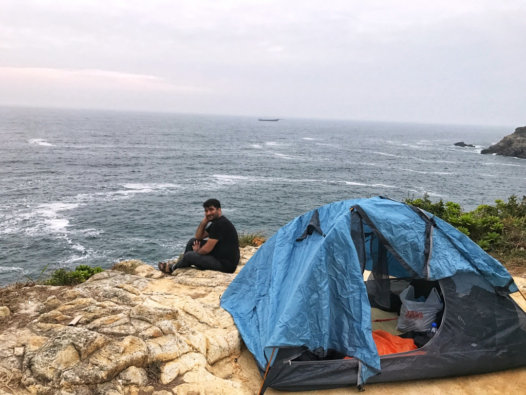 Camping near the Tung Lung Chau Fort at the island by the same name.