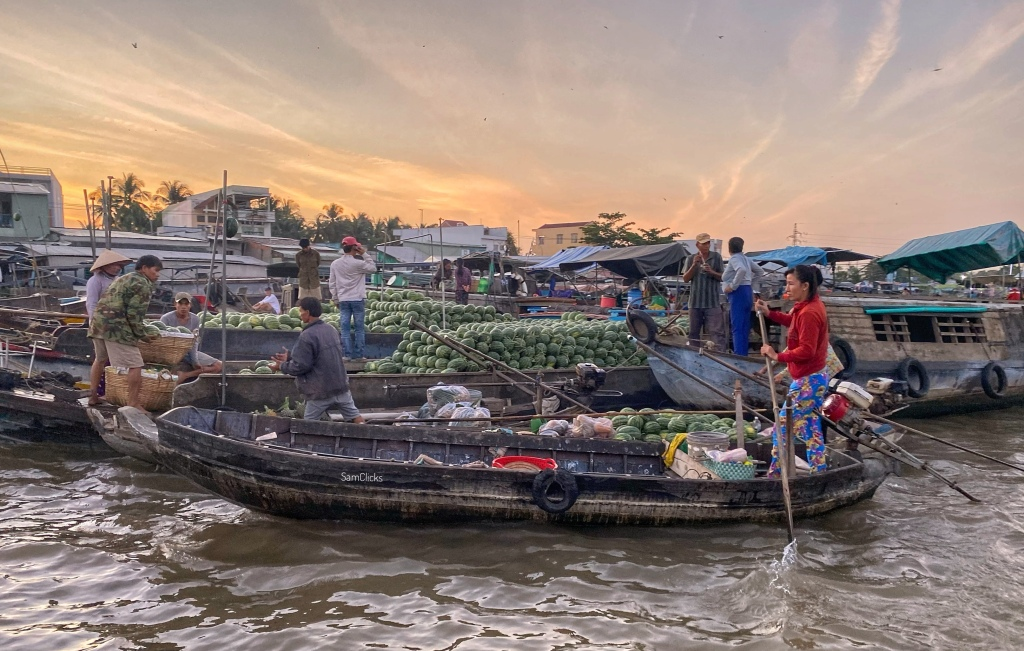 Cai Rang floating market in full glory. This one is the biggest in Mekong Delta and essentially a wholesale market. Just a 15 minutes boa