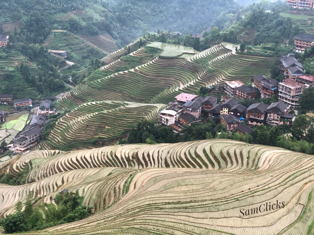 A village nestled in the terraces.